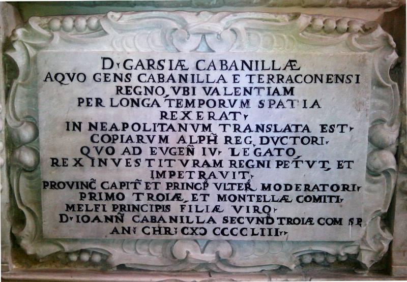 Lapide funeraria di Don Garzia Cabanilla